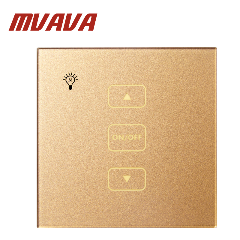 Mvava Touch switch Rose Gols Crystal Glass Panel UK standard  Dimmer Control Touch Wall Light Switch/Home Automation smart home uk standard crystal glass panel wireless remote control 1 gang 1 way wall touch switch screen light switch ac 220v