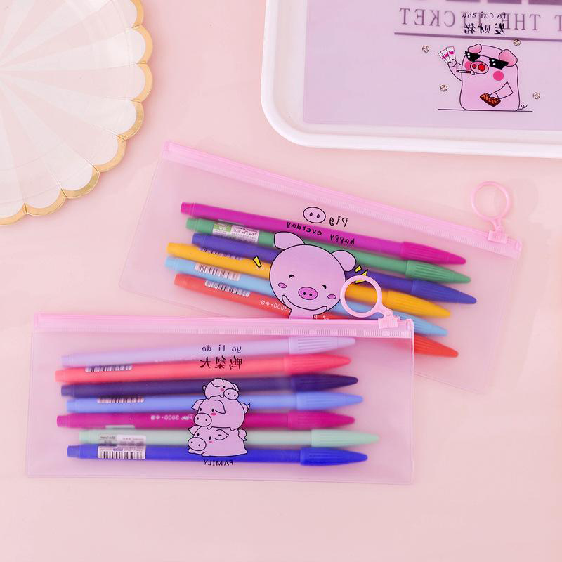 Cute Pink Pig Pencil Case Simple Transparent Pencil Bag For Girls Pen Box Kawaii Stationery Pencilcase School Office Supplies