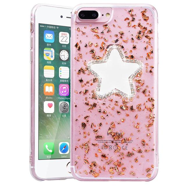 huge discount cb6da e9980 US $3.99 20% OFF|Fundas For iPhone 7 Case Glitter Gold Foil Case for iPhone  7 Plus Bling Five Star Mirror soft Back Cover For iPhone 7plus Case-in ...