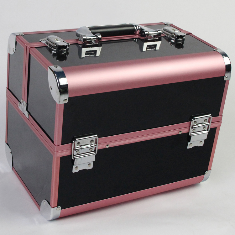 Pink and Black Color Brand Large Capacity Organizer Case for Cosmetics, Fashion Perfect Women Jewelry Storage Box for GiftsPink and Black Color Brand Large Capacity Organizer Case for Cosmetics, Fashion Perfect Women Jewelry Storage Box for Gifts