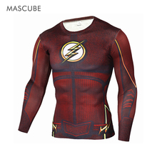 Mascube moda super hero the flash hombre ventilar de secado rápido 3d superhero man cubs jersey camiseta para correr los hombres con largo de la manga