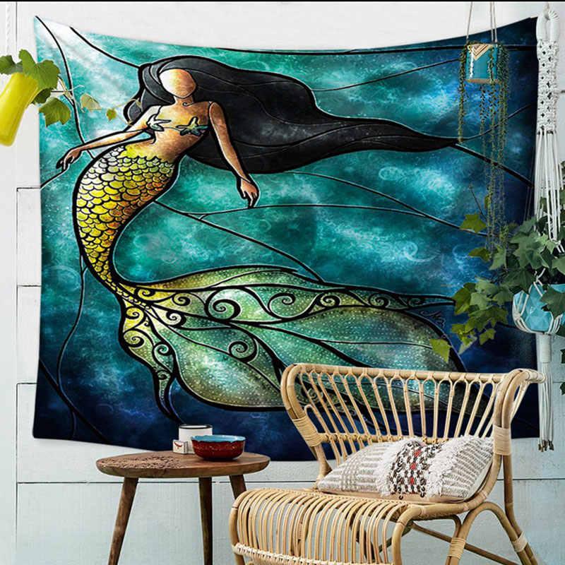 Mermaid Tapijt Muur Art Wandtapijten Thuis Deur Woonkamer Sprei Vel Tafelkleed Strandlaken Yoga Picknick Mat