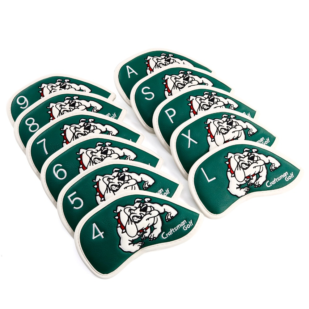 Craftsman Golf Iron Headcover Waterproof PU Leather 11Pcs/set(4~9,P,A,S,L,X) Magic Tape Closure Bulldog Style 4 colors