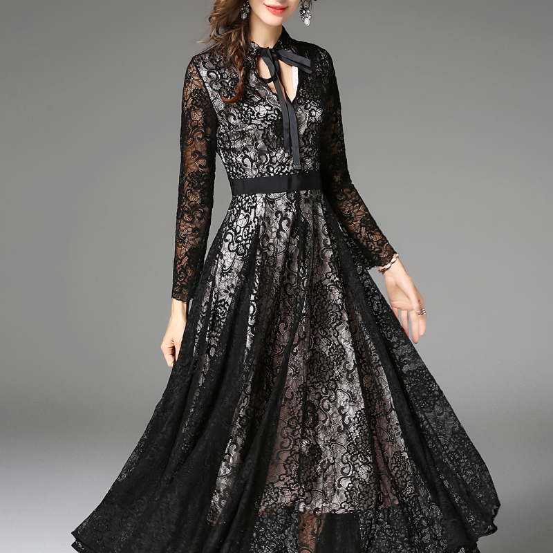 H Han Queen Elegant Black Vintage Maxi Dresses Women Long Sleeve Sexy Hollow Out Lace Dress Business Casual Work Party Vestidos