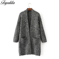 Beading Cardigan Women Knitted Sweater Warm Winter Tops Long Sleeve Casual Sweater Female Coat Long Kimono Loose Open Stitch New