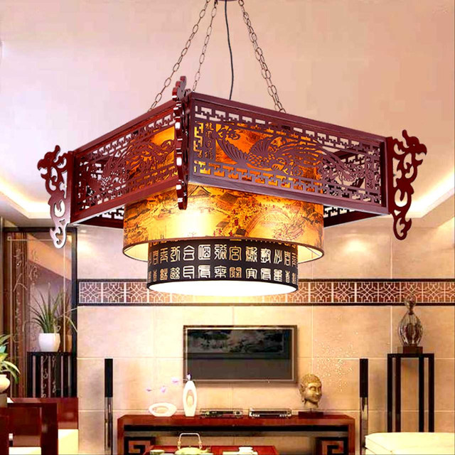 Chinese Style Wooden Pendant Lights Hotel Restaurant Teahouse China Lighting Clical Wind Dragon Send Blessing Lamp Za