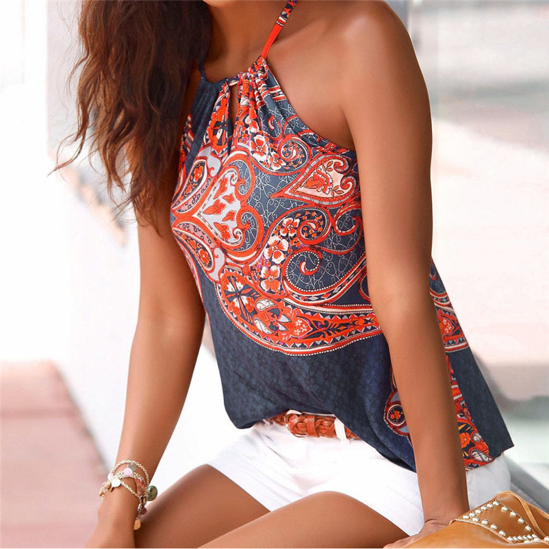HOT sell Fashion womens tops and blouses summer 2018 Floral Strappy Vest Top Sleeveless Shirt Blouse Tank camicette Y18#N  (3)