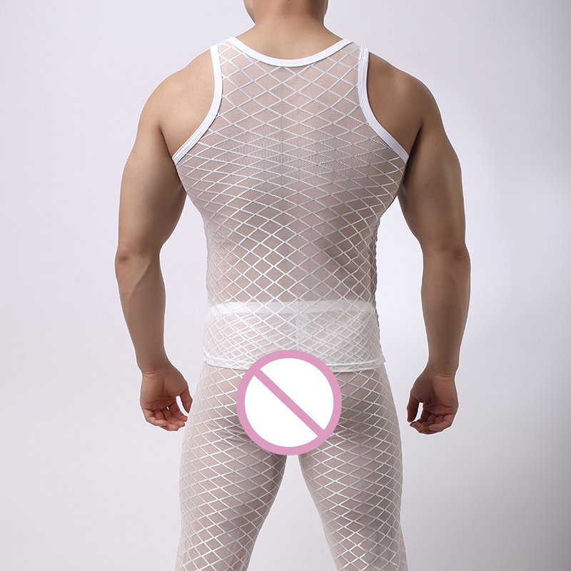 Underwear & Sleepwears Fishnet Pajamas Sets Mens Tranparent Tank Tops Pants Trousers Mesh Sleep Vest Undershirts Bottoms Sleepwear Underwear Nightwear