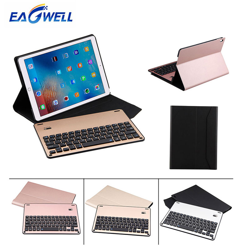 Eagwell Removable Alloy Bluetooth Keyboard PU Leather Case For iPad Pro 10.5 inch Tablet Wireless Keyboard Case Protective Cover for ipad pro 12 9 keyboard case magnetic detachable wireless bluetooth keyboard cover folio pu leather case for ipad 12 9 cover