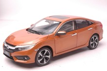 Orange 1 18 Honda Civic SI 2016 10th Generation Diecast Model Show Car Miniature Toys