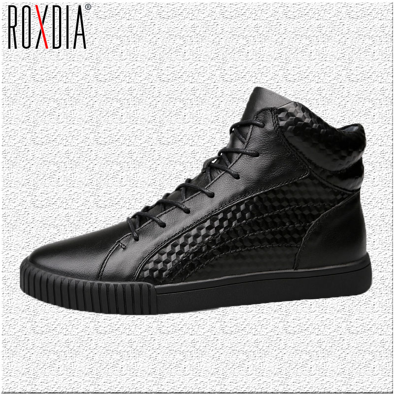 ROXDIA men boots male shoes fashion snow winter cow leather warm waterproof boot for man shoe big size 39-44 RXM078 стоимость