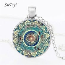 SUTEYI Vintage Glass Dome Necklace Buddhism Chakra Glass Cabochon Pendant Jewelry Om India Yoga Mandala Necklaces For Unisex(China)