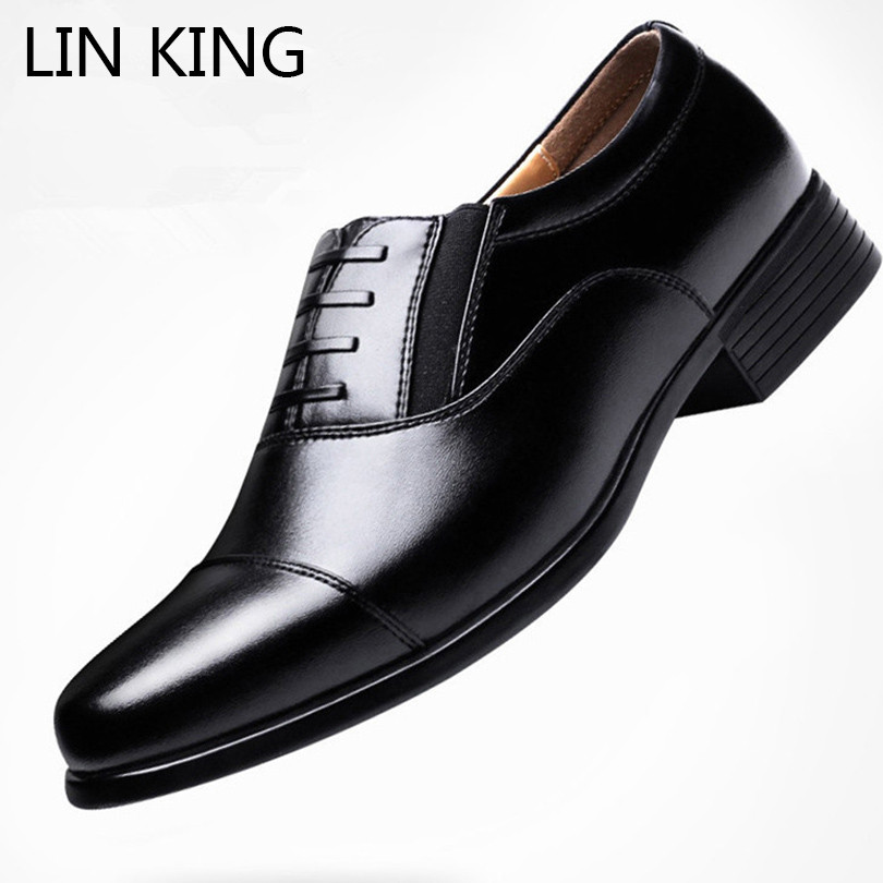LIN KING New Men Casual Pu Leather Shoes Pointed Toe Ankle Oxfords Shoes Low Top Short Shoes Wedding Party Dress Shoes For Male choudory new winter men ankle italian shoes men leather shoes pointed toe mens black dress shoes sequined toe spiked loafers men