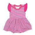 Meney Трико Платья для Девочек Новорожденных Рукавов Полосатый Розовый Baby Girl Одежда Для Новорожденных Комбинезон Bebes Ползать Детское Тело