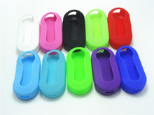 1pc Silicone car key cover For Fiat 500 Flip Remote Car Key Shell Blank Fob to Protect car accessories 10 Color