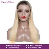 Долго плотность 150% Remy Малайзия Прямо Синтетические волосы на кружеве парик 1B 613 Ombre блондинка Цветной предварительно выщипать кружева парик