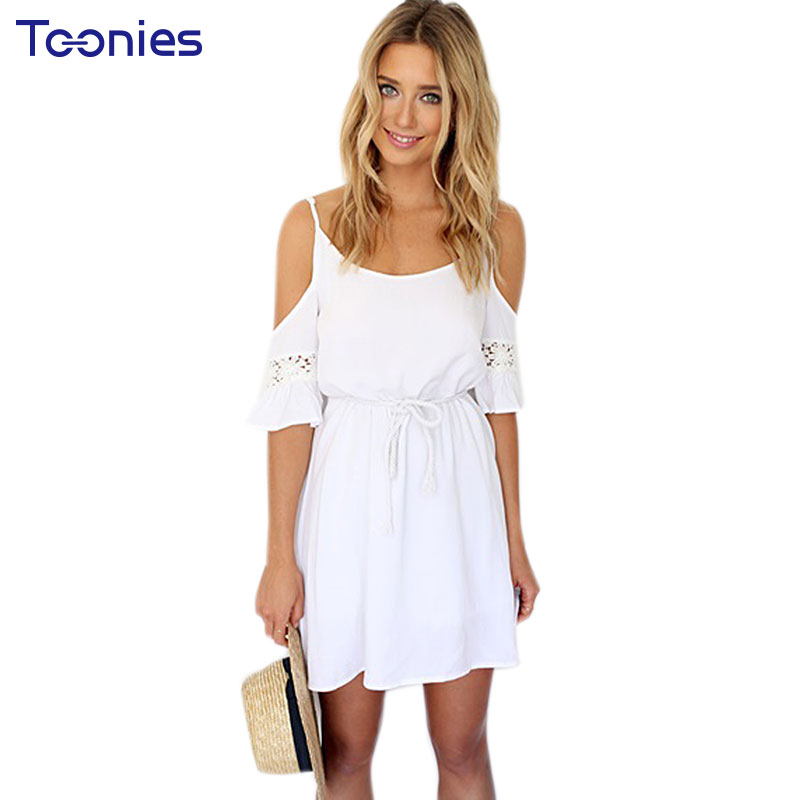 Verano sin tirantes dress weomen sexy lace hollow out white beach dress vestido