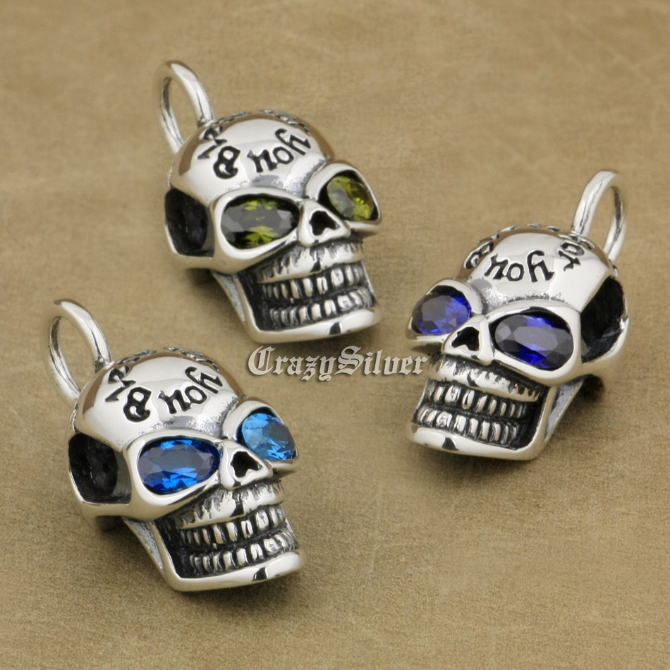 925 Sterling Silver Smile Skull CZ Eyes Mens Biker Rocker Punk Pendant 8Q111 Just Pendant 925 sterling silver crescent moon skull mens biker rocker punk pendant 9v010 free shipping