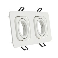 Aluminium Ceiling Light Mounting Frame Double in Square Brushed Square with GU10 MR16 Recessed Ceiling Fixed Downlight  Fitting