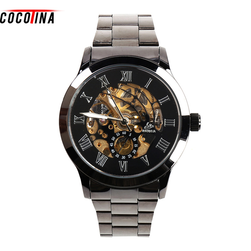 COCOTINA New arrival big dial handsome men watch Mens Leather Steel Strap Business mechanical Wrist Watch #L05319
