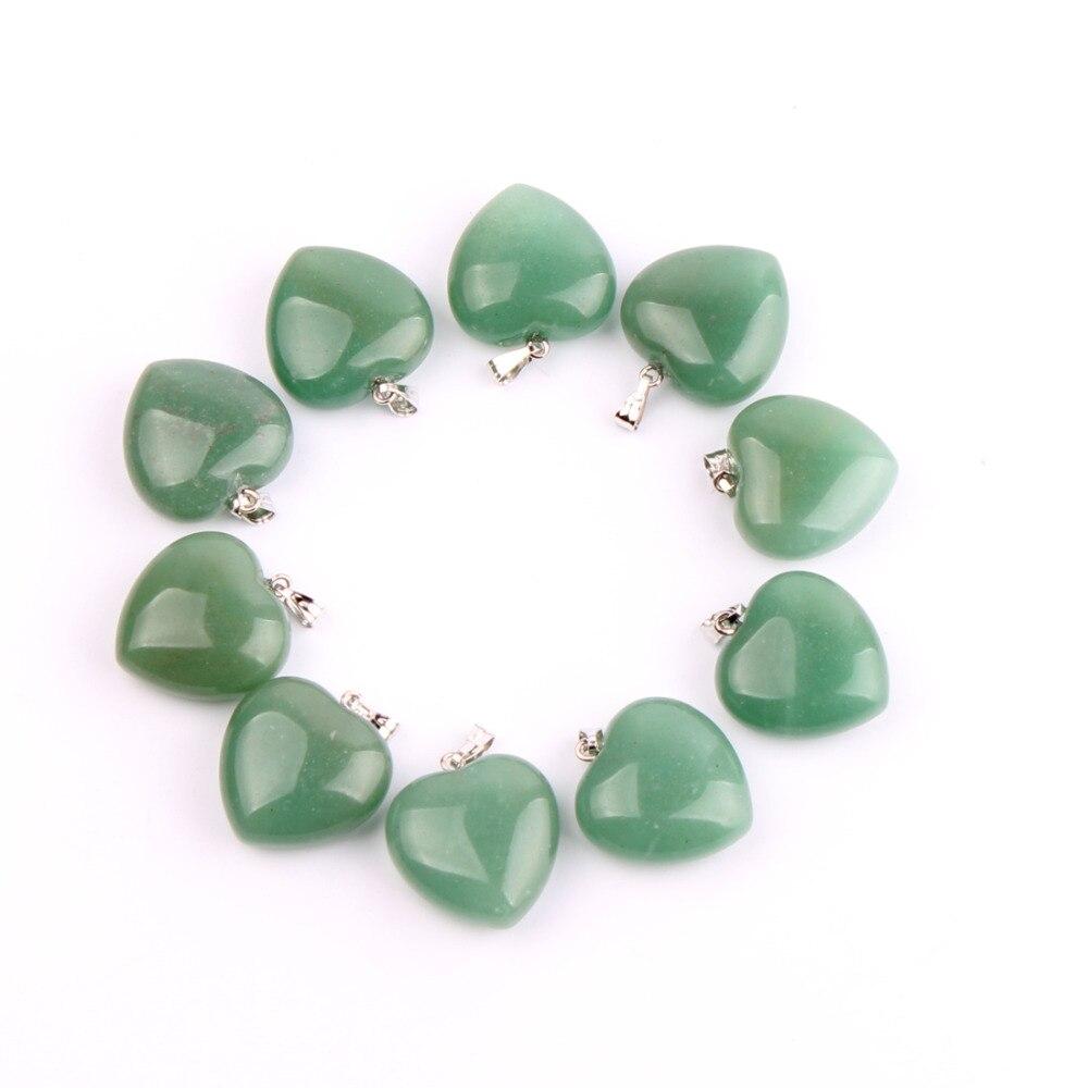 10 pc Rose Quartz Obsidian Liontin Jantung Untuk Anting-Anting atau - Perhiasan bagus - Foto 4