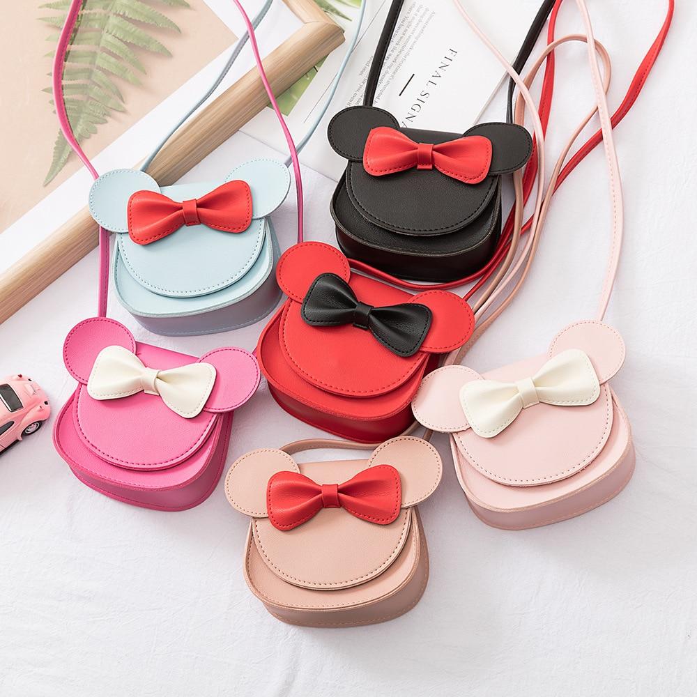 Kids Coin Purse Handbag Children Small Zero Wallet Messenger Bag Cute Mouse Bow Baby Girls Crossbody Shoulder Bags Gift