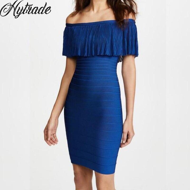 HL Royal bleu en mousseline de soie à volants hors de l'épaule moulante robe de soirée Cocktail Uk tricot haute qualité rayonne Bandge Mini robe de dame