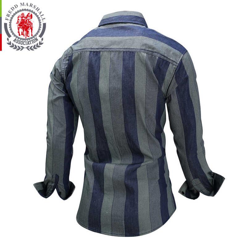 FREDD MARSHALL Brand 2019 Wide Vertical Stripes Shirt Men Casual 100% Cotton Camisa masculina Turn-down Collar Men Shirt FM077