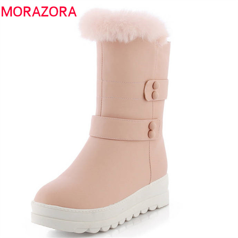MORAZORA 2018 keep warm winter snow boots women slip on round toe boots solid colors platform shoes fashion mid calf boots MORAZORA 2018 keep warm winter snow boots women slip on round toe boots solid colors platform shoes fashion mid calf boots