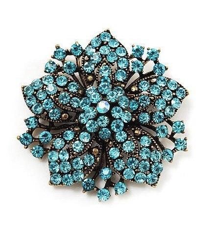 2,2 дюймов винтажная Серебряная черная Хрустальная Морская звезда, брошь для вечеринки, выпускного, ювелирные изделия, подарки - Окраска металла: 14