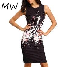 2016 Summer Women's Elegant Dress Floral Print Knee Length Pencil Dress Sleeveless Black Dress Work Sheath Office Dress 8968
