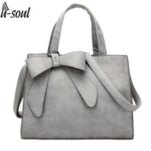 Women Bag Bow Large Capacity PU Leather Handbag Shoulder Bags  Messenger Bag Casual Tote Blosa ls4934