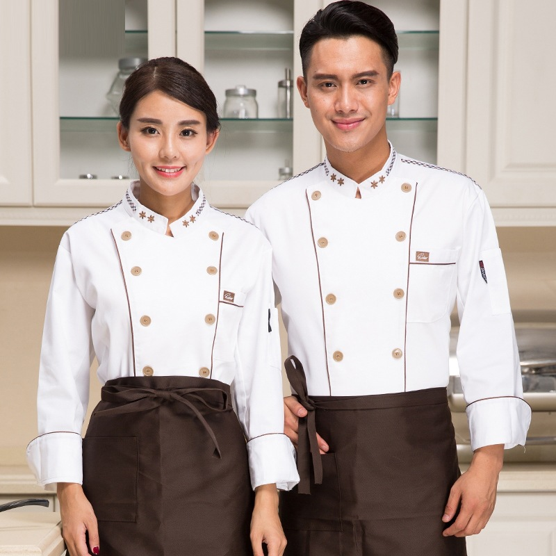 Fashionable Unisex Chef's Uniform,Breathable Fabrics,Chef  Jackets,Chef's Kitchen Long Sleeve Work Wear B-5929
