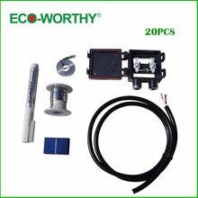 ECO-WORTHY 20 шт. 39×26 мм поликристаллический солнечных батарей цена табуляции шины и поток Pen & J коробка и провод для DIY поли солнечных Панель