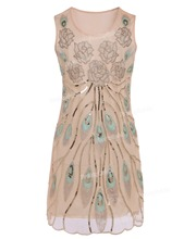 1920s Vintage Embroidered Floral Deco Peacock Feather Scallop Hem Flapper Dress