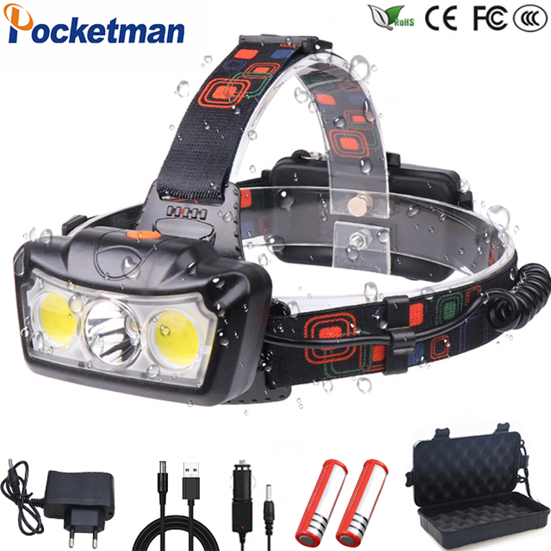 Ultra Bright LED Headlamp T6+COB LED Headlight Head Lamp Flashlight Torch Lanterna Head Light Use 2*18650 Battery For Camping