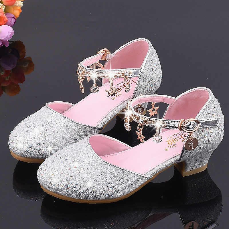 Обувь для девочек Корейская версия подиума Кристалл детская обувь на высоком каблуке принцесса обувь маленькие отделка для стульев обувь для выступлений