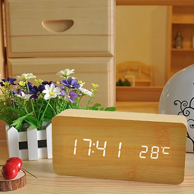 1 PC Digital LED Wooden Wood Clocks Desk Home Decoration Modern Alarm Clock Thermometer Timer Calendar T50