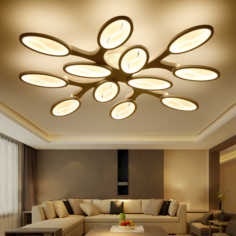 Newly Designed LED Chandelier Creative SMD LED Lightsource Tree Shape White Acrylic Lampshade Living Room Coffee House Lighting