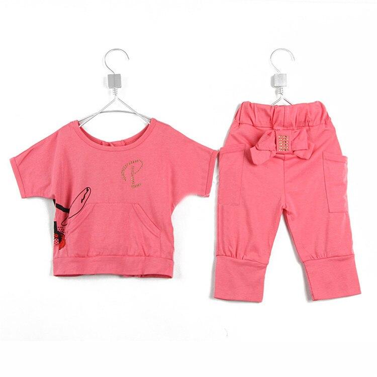 Летняя одежда для девочек с изображением мышки; обратимый комплект для маленьких детей; 0860