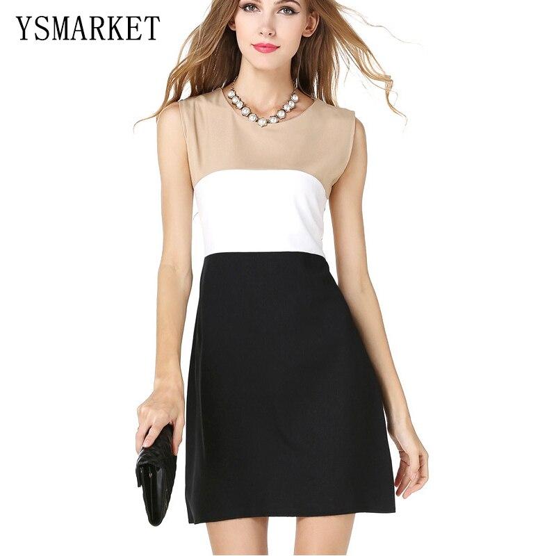 Blanco negro remiendo mujeres elegantes Oficina vestido tanque sin mangas  una línea mini vestido redondo Masajeadores de cuello Secretario partido  señoras ... 697ff34af39a
