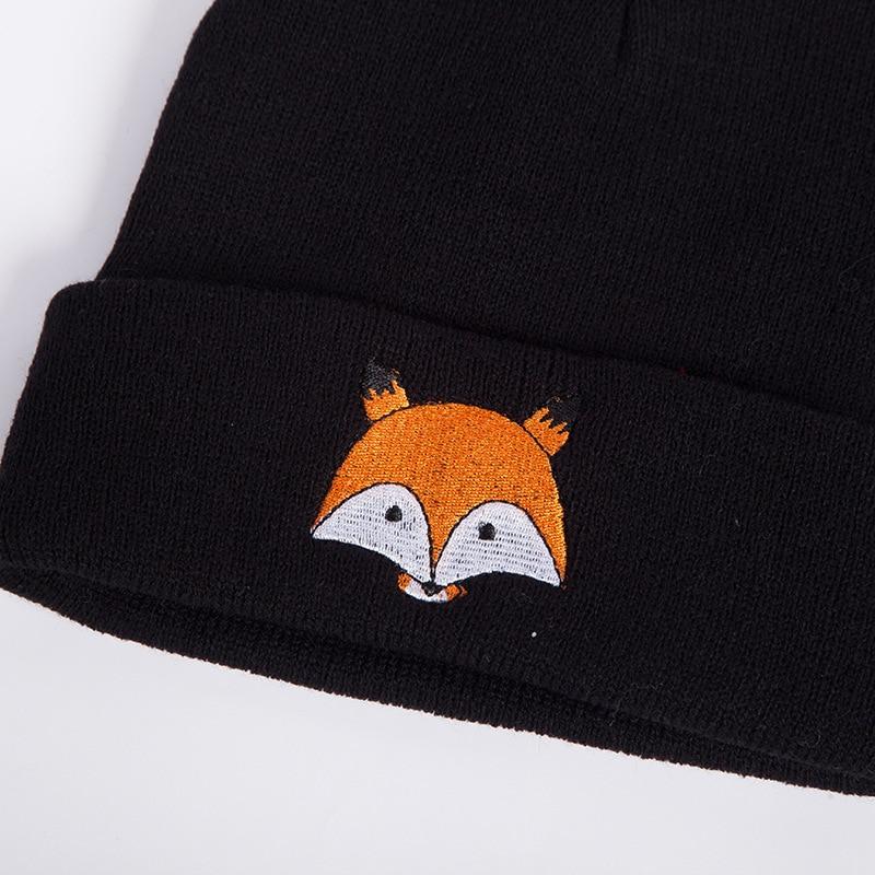 2019 New Knitted Winter Caps Women Men Soft Warm Beanie Knit Cap Crochet Elasticity Hats Skullies Female Ear Embroidery Fox Hat 5