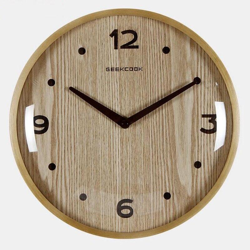 12 inch 315cm Large Round Wooden Wall Clock Silent Quartz Watch
