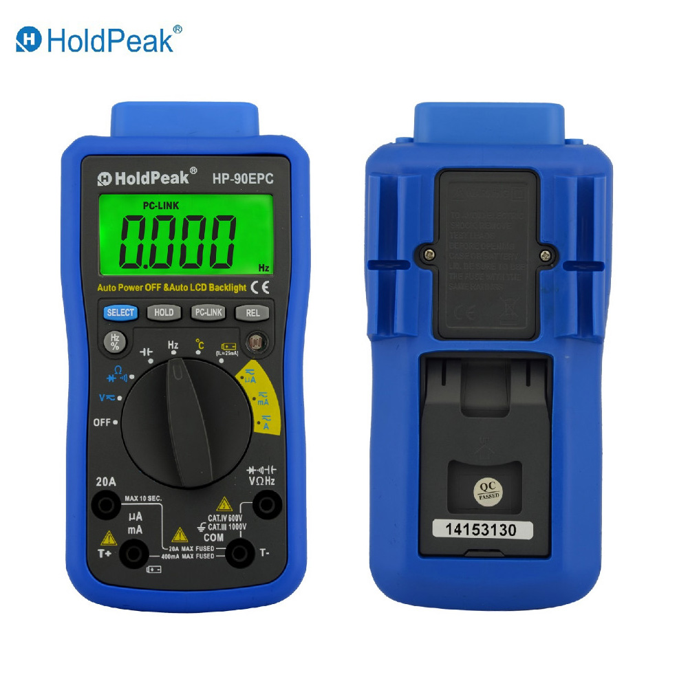 HoldPeak HP-90EPC Multimetr Digitais USB Multimeter Digital Auto Range Multimeter Capacitance Meter Data USB with Carry Bag holdpeak hp 90k engine analyzer tester auto range car diagnostic tool with data output by usb multimeter multimetro