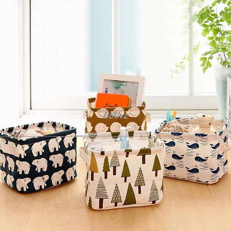 Cute Linen Desk Storage Box Holder Home Storage & Organization Jewelry Cosmetic Stationery Organizer Case Bag NEW