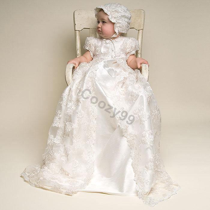 NB-24M Toddler Infant Baby Girls White Gown Christening Baptism Lace Dress with hat boegli m 24
