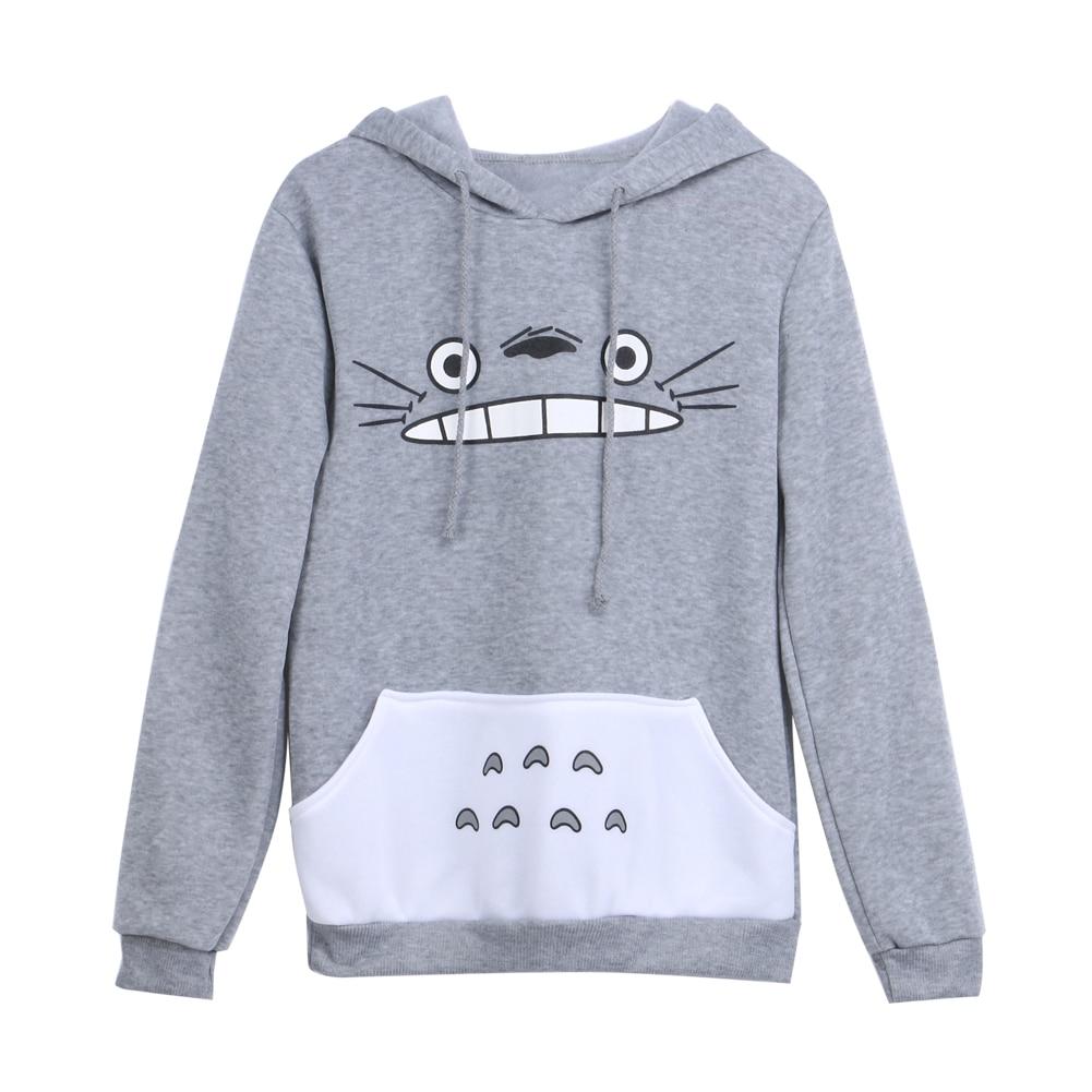 Nieuwe Modieuze Vrouwen Cartoon Totoro Hoodie Casual Sweatshirt Grijze Unisex Pullover Lange mouw Jas Mannelijke Vrouwelijke Hoodies