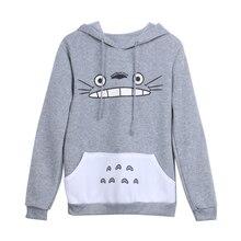 New Fashionable Women Cartoon Totoro Hoodie Casual Sweatshirt Gray Unisex Pullover Long Sleeve Coat Male Female Hoodies