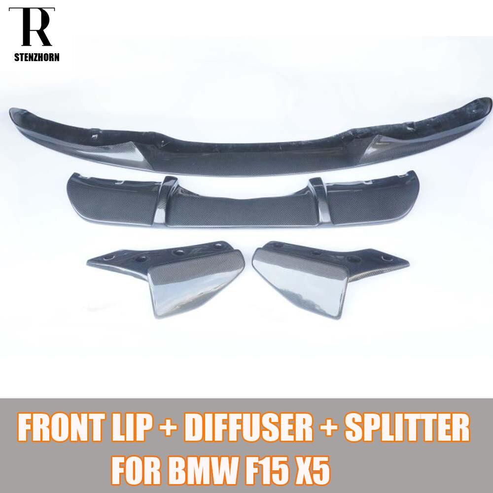 F15 X5 углерода Волокно Средства ухода за кожей комплект для BMW F15 X5 M tech m Sport бампер Средства ухода за кожей комплект сзади диффузор и задний спл