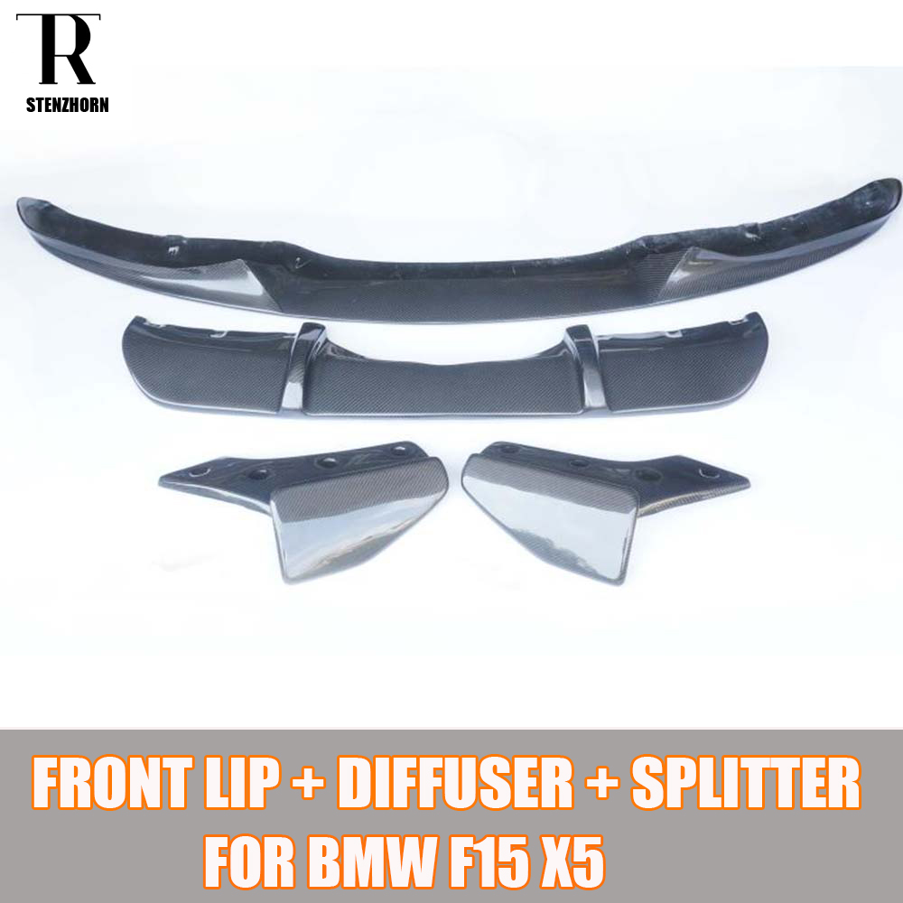 F15 X5 En Fiber De Carbone Bodykit pour BMW F15 X5 M-tech M-sport kit Carrosserie pare-chocs Arrière Diffuseur & Arrière Splitter & Lèvre Avant